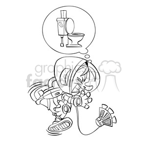 astronaut has to go to the bathroom in black and white clipart.  Royalty.