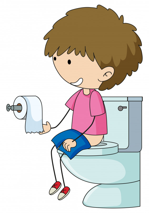 A boy in the toilet Vector.