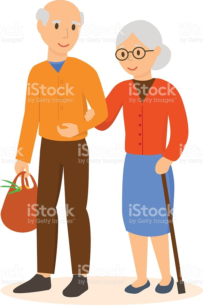 Elderly People Go Under The Arm In The Shop stock vector art.