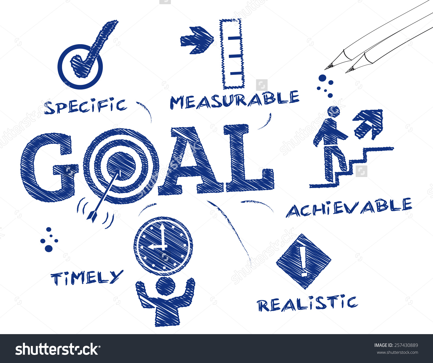 Goal setting clipart black and white.