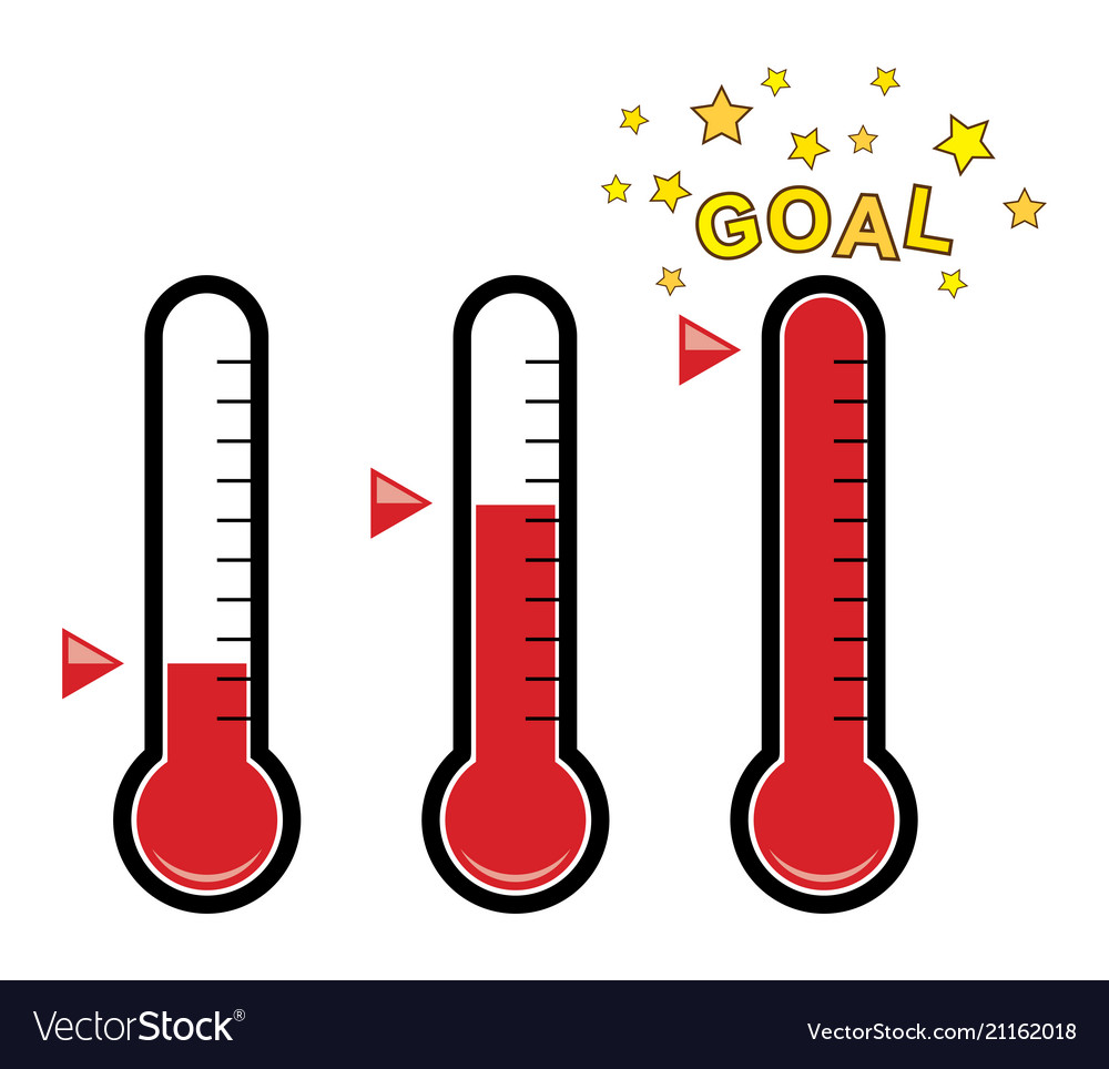 Clipart set of goal thermometers.