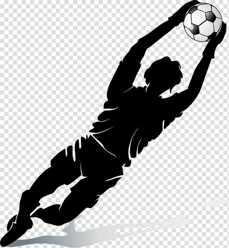 Goal keeper catches ball graphic art, Football player.