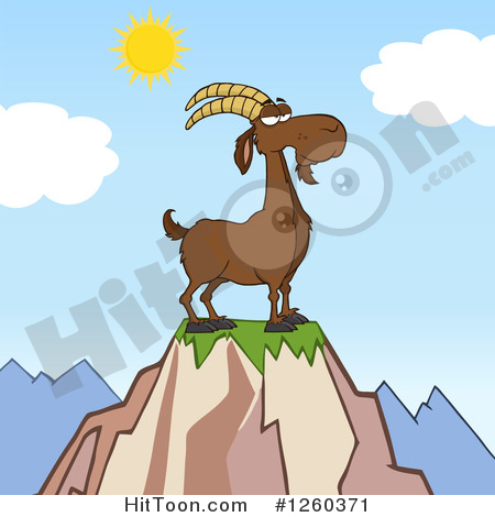 Boer Goat Clipart #1260371: Red Male Boer Goat Buck with a Goatee.