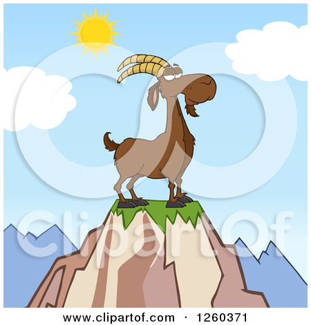 Clipart of a Black and White Male Boer Goat Buck on a Giant Spool.