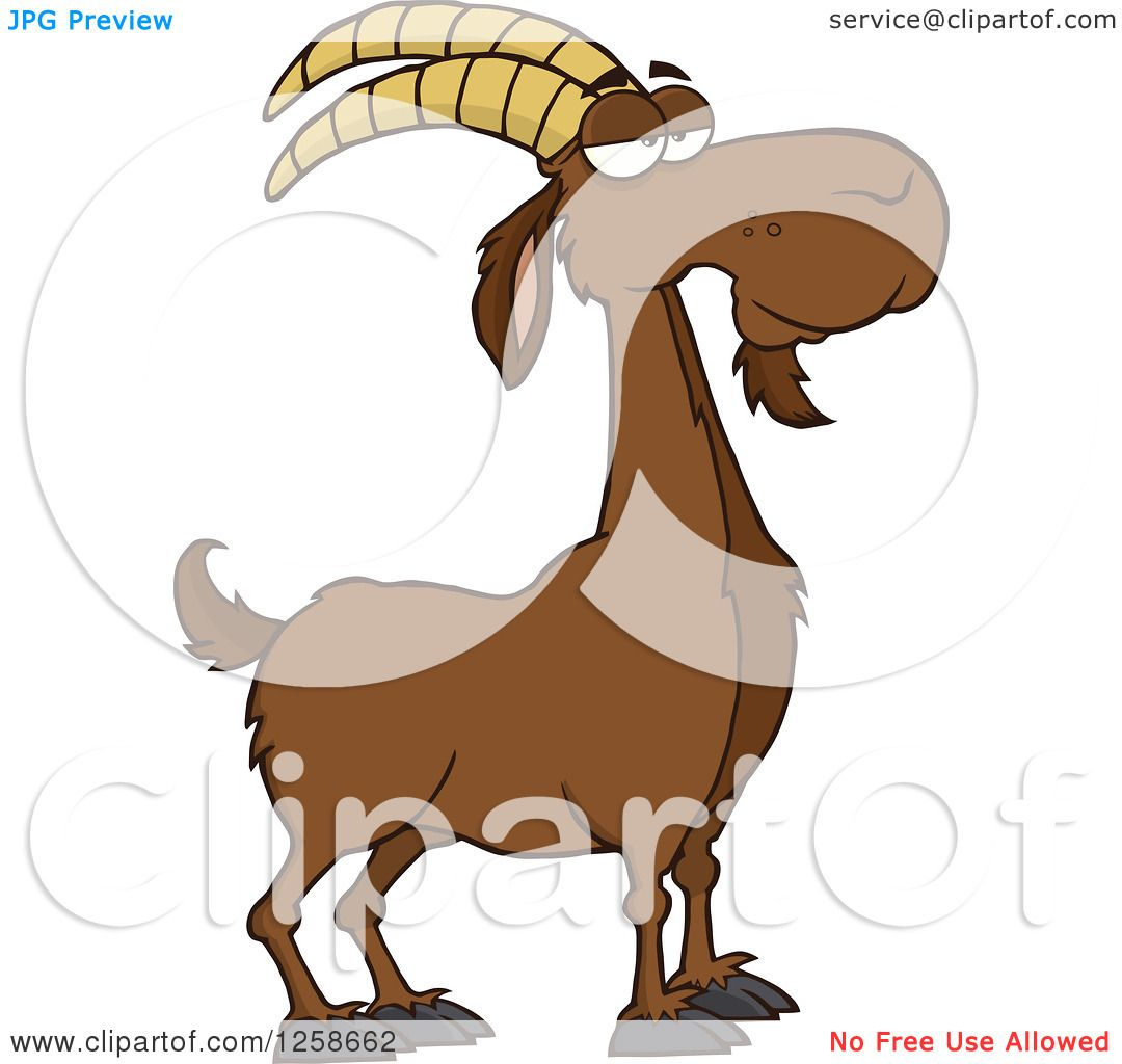 Clipart of a Red Male Boer Goat Buck with a Goatee.