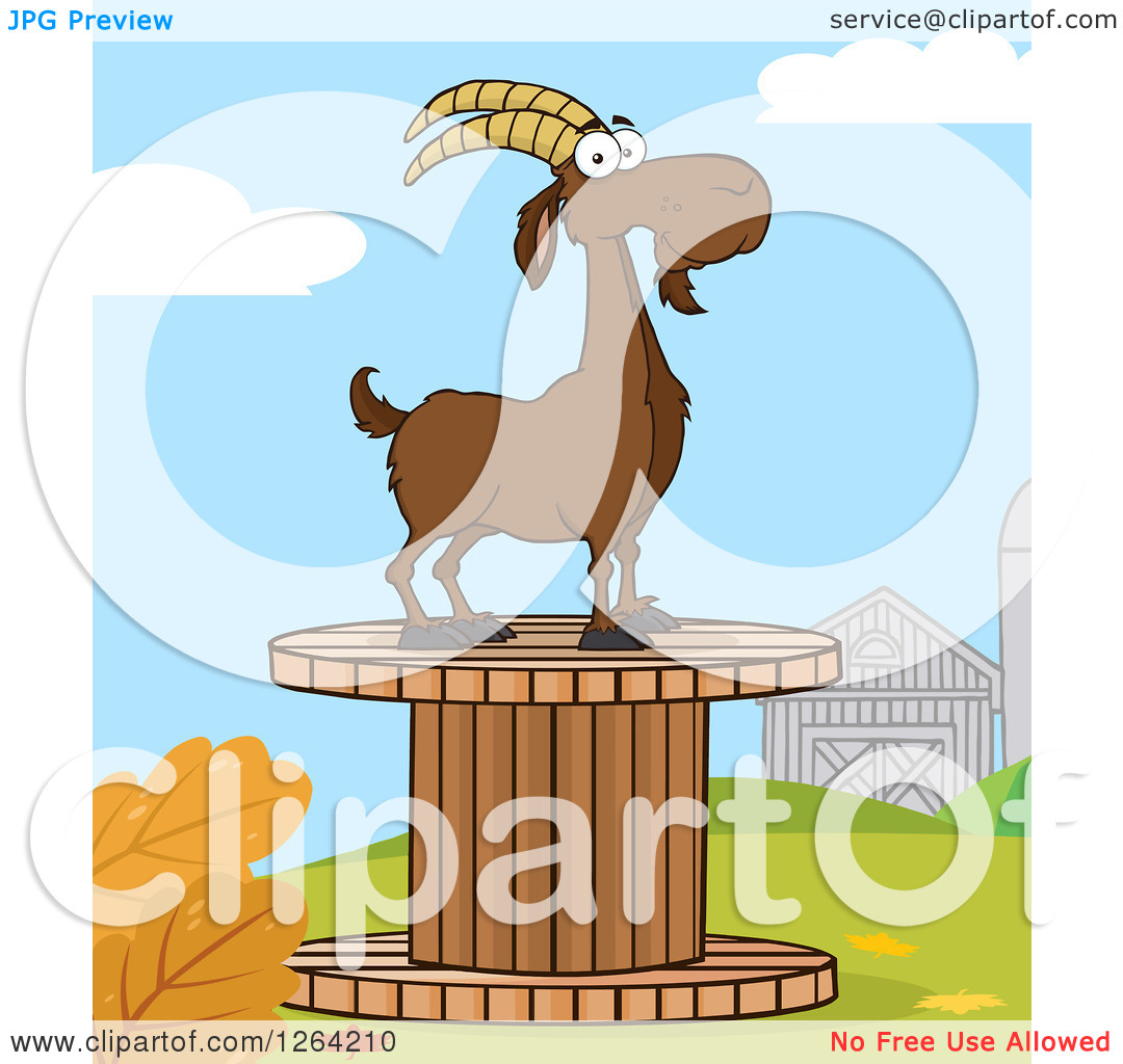 Clipart of a Red Male Boer Goat Buck on a Giant Spool in a.