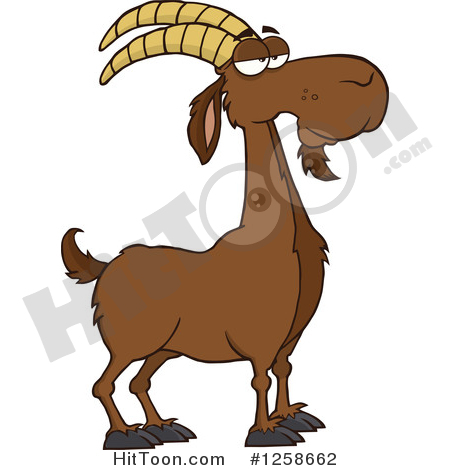 Boer Goat Clipart #1258662: Red Male Boer Goat Buck with a Goatee.