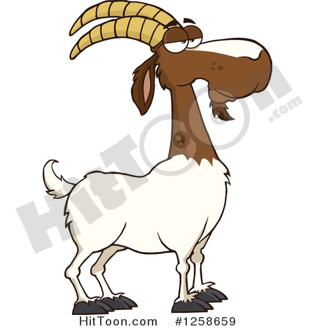Boer Goat Clipart #1258659: Red and White Male Boer Goat Buck with.