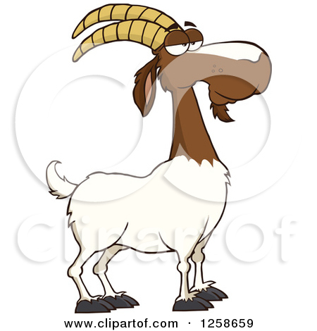 Clipart of a Black and White Male Boer Goat Buck.