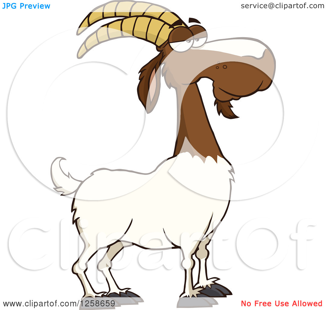 Clipart of a Red and White Male Boer Goat Buck with a Goatee.