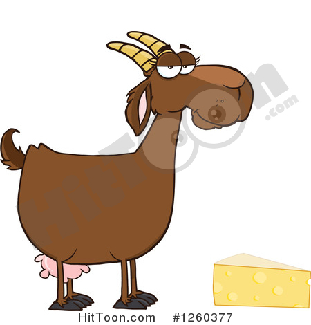 Boer Goat Clipart #1260377: Red Female Boer Goat Doe with Cheese.