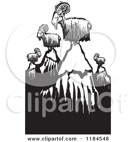 Clipart Goat On Top Of A Mountain.