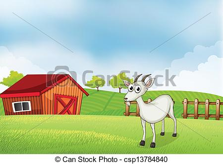 EPS Vector of A white goat at the farm.