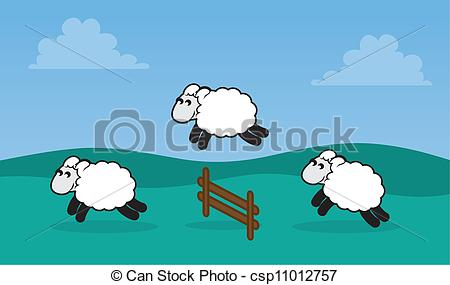Clipart Vector of Sheep Jumping Fence in Field.