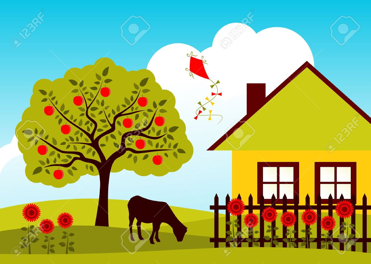 Vector Apple Tree, Goat And Cottage With Picket Fence Royalty Free.