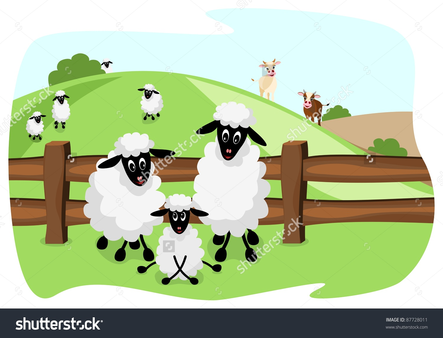 Three White Sheep On Pasture Wooden Stock Vector 87728011.