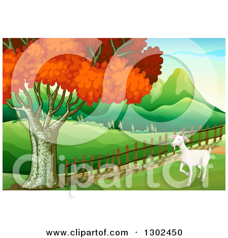 Clipart of a White Goat Walking in a Pasture by a Fence and Autumn.