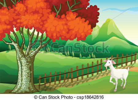 Vector Clip Art of A white goat near the big tree.