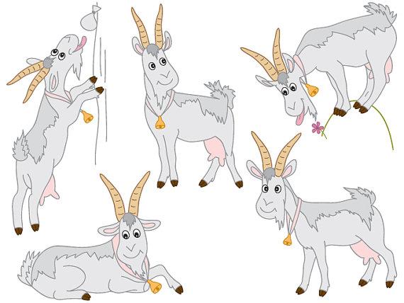 Goats Clipart Digital Vector Farm Animal Goat Wild by TanitaArt.