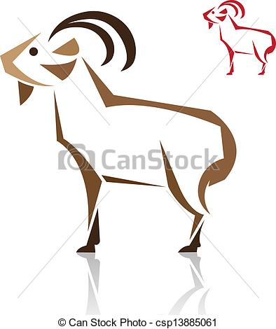 Clip Art Vector of Vector image of an goat on white background.