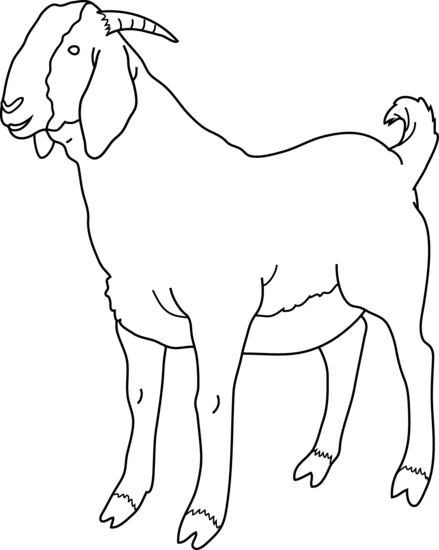 Free black and white goat clipart.