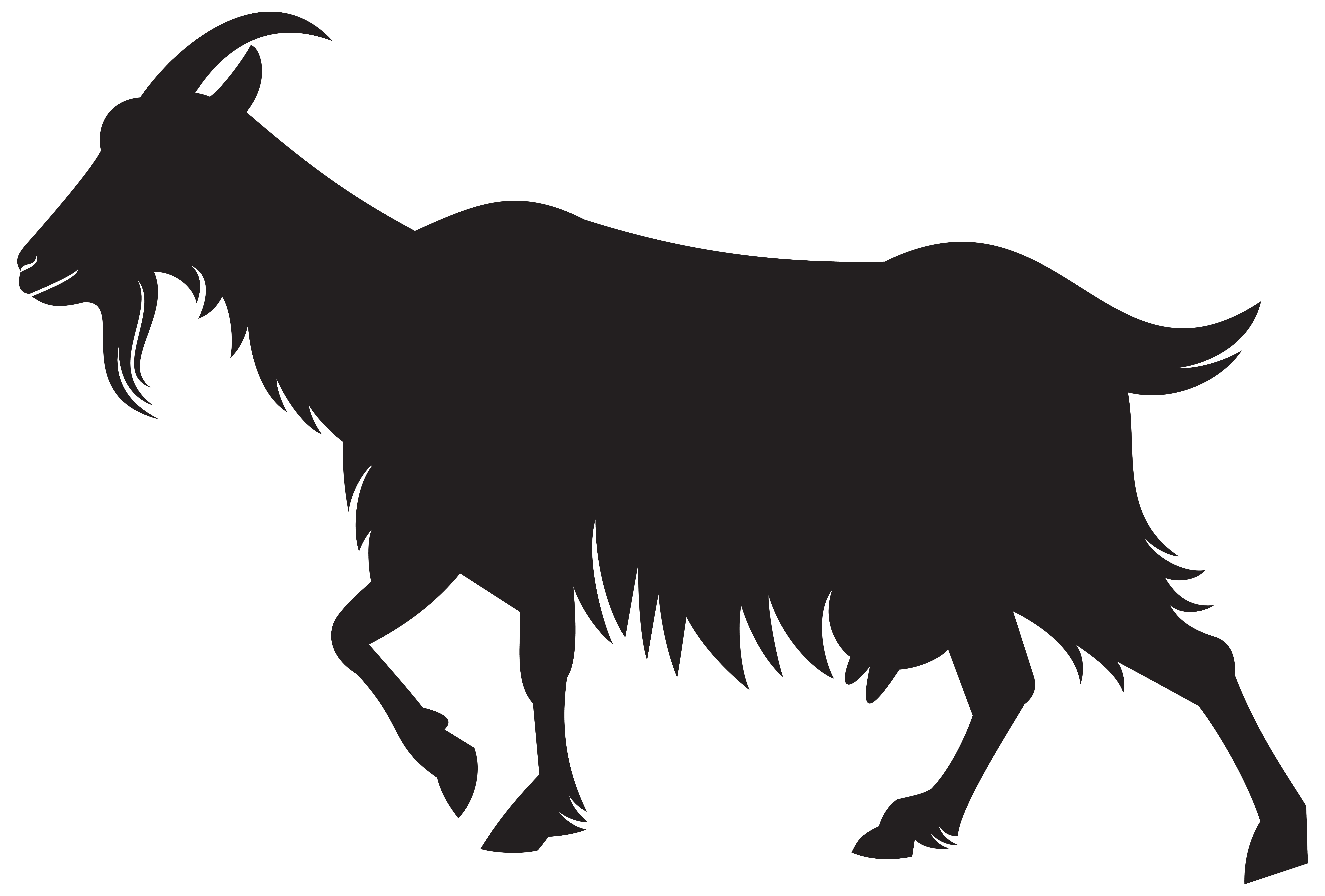 Goat Silhouette PNG Clip Art Image.