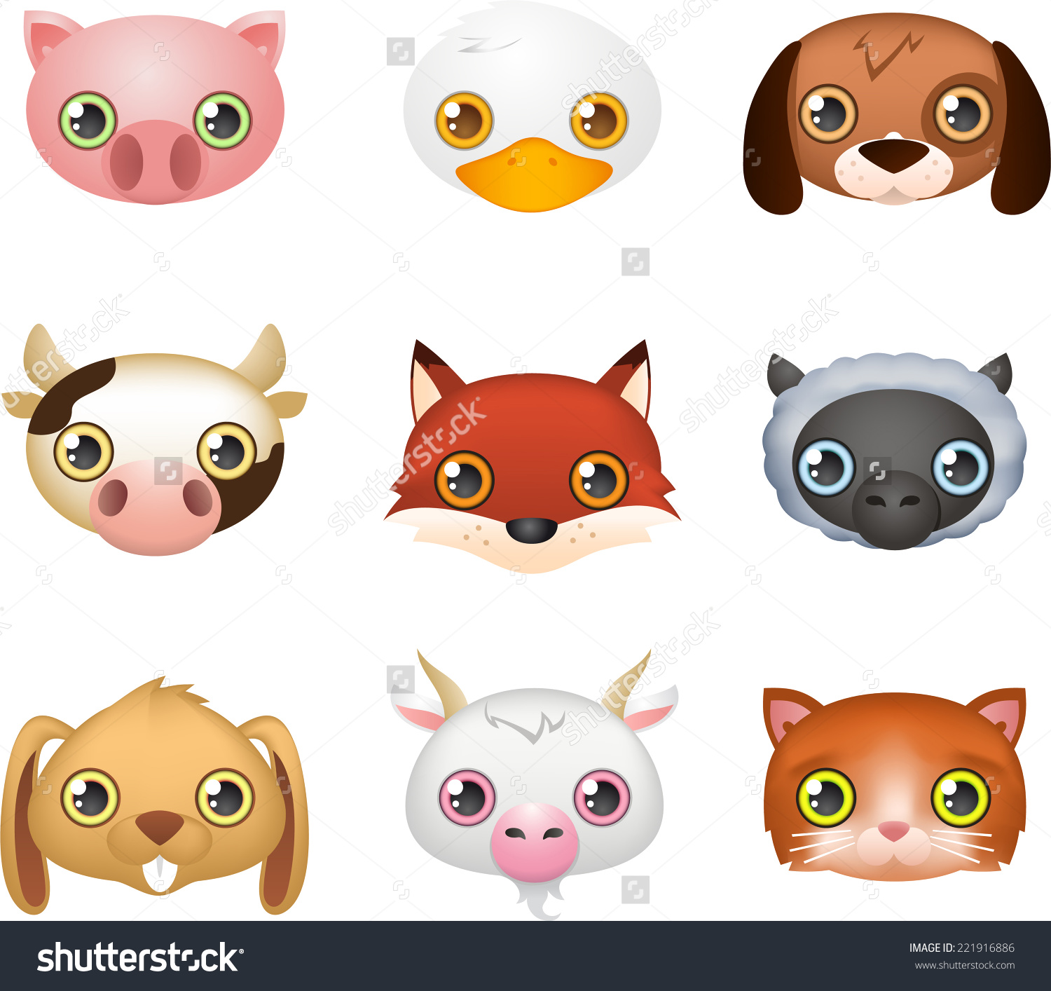 Cute Farm Animal Faces Like Fox Stock Vector 221916886.
