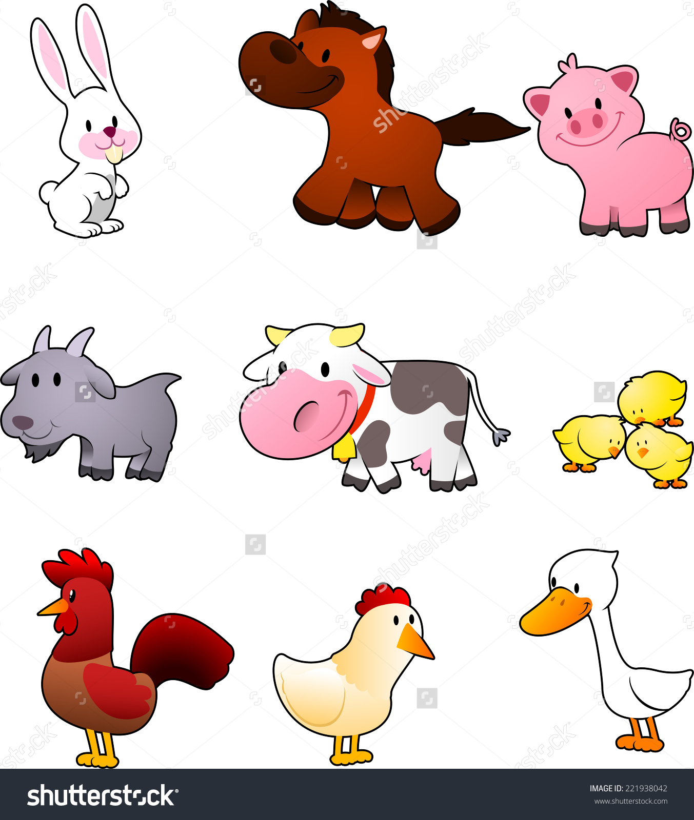 Nine Cartoon Farm Animals Like Rabbit Stock Vector 221938042.