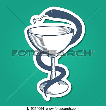 Clipart of Medical emblem with goblet and snake. k19254064.
