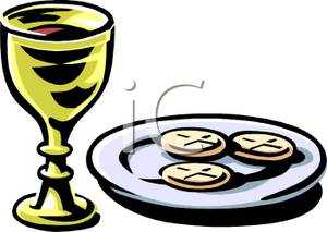 Goblet of Wine and Wafers For Communion.