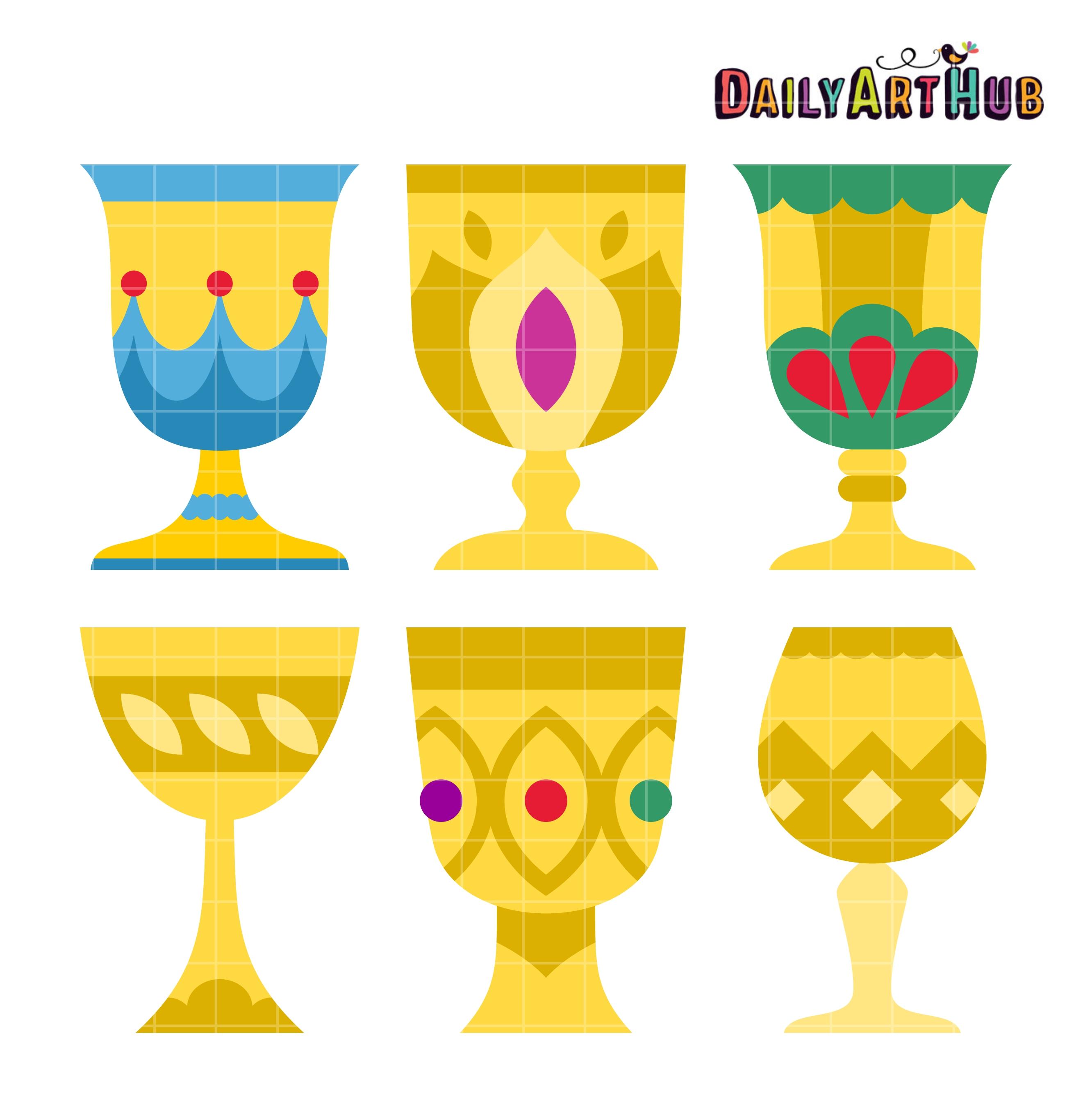 Goblets Clip Art Set.