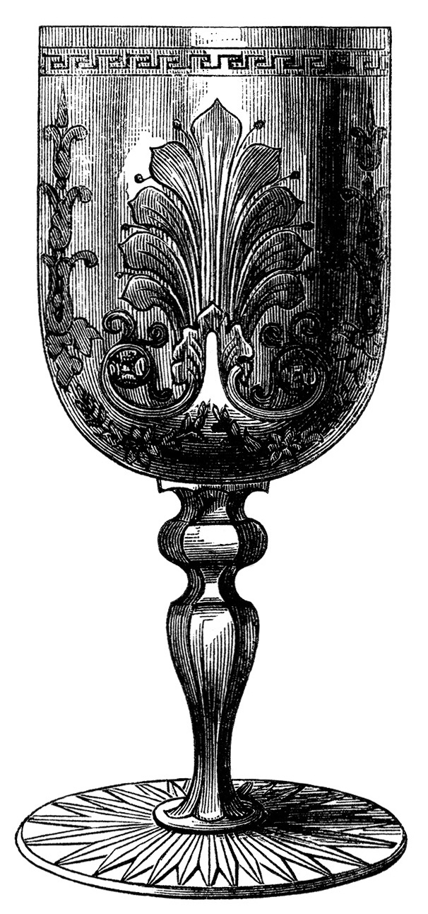 vintage wine glass clip art, antique wine goblet image, victorian.