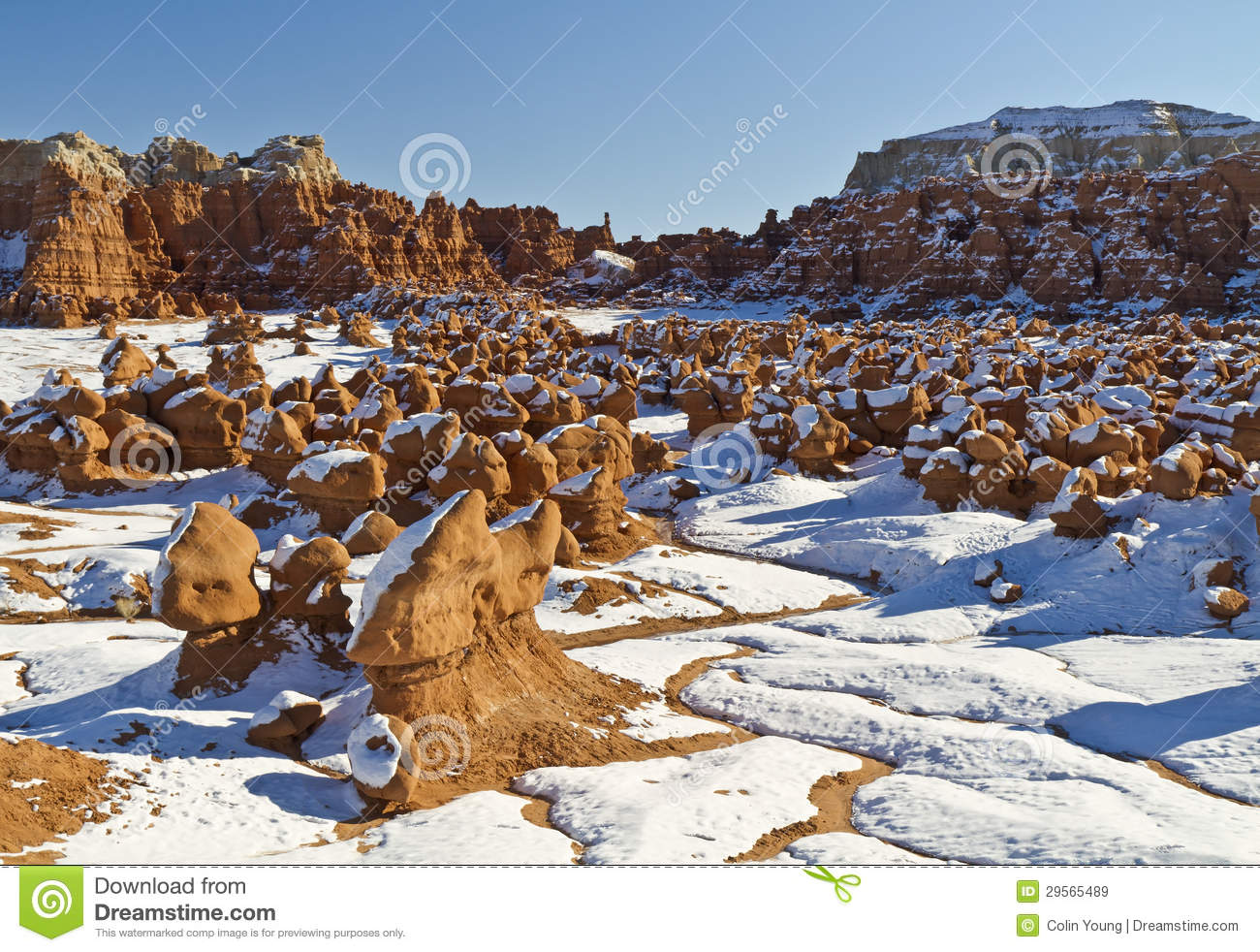 Snow In Goblin Valley Royalty Free Stock Images.