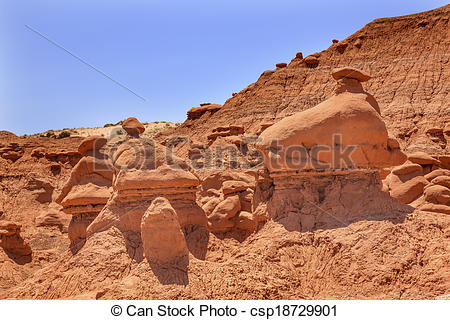 Stock Photography of Mushroon Shaped Hoodoos Goblin Valley State.