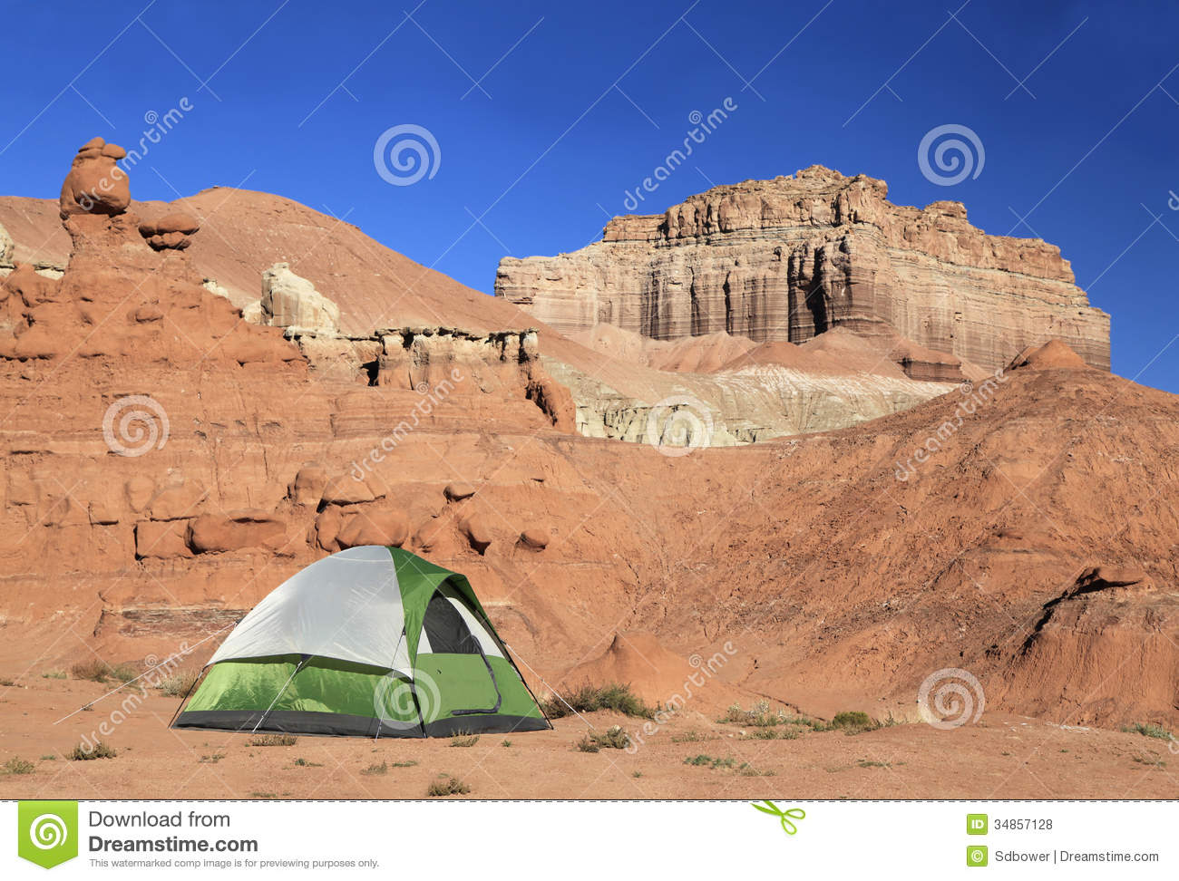 Tent At The Campground Of Goblin Valley, Utah Royalty Free Stock.