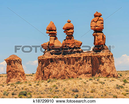 Stock Photography of Three Sisters Hoodoos Goblin Valley State.