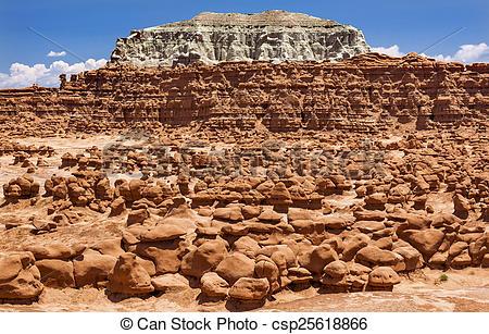 Stock Image of Blue Mountain Mushroon Shaped Hoodoos Goblin Valley.