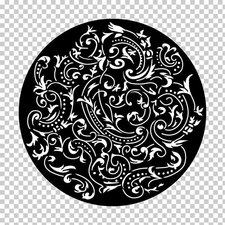 Gobo Circle Glass White Color, Paisley motif PNG clipart.
