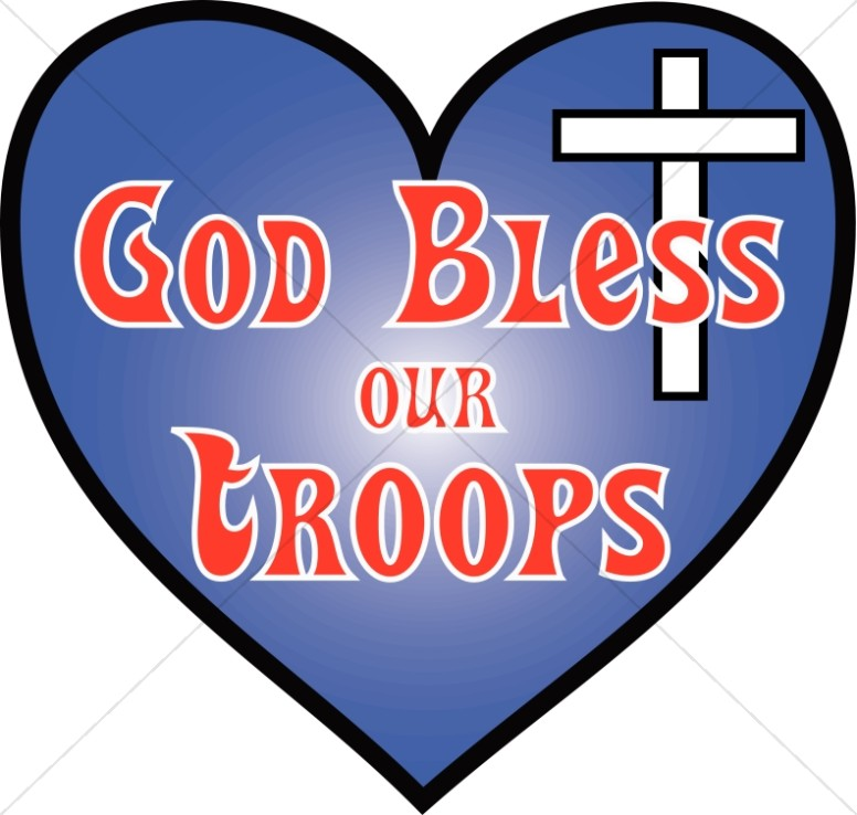 Heart with God Bless Our Troops.