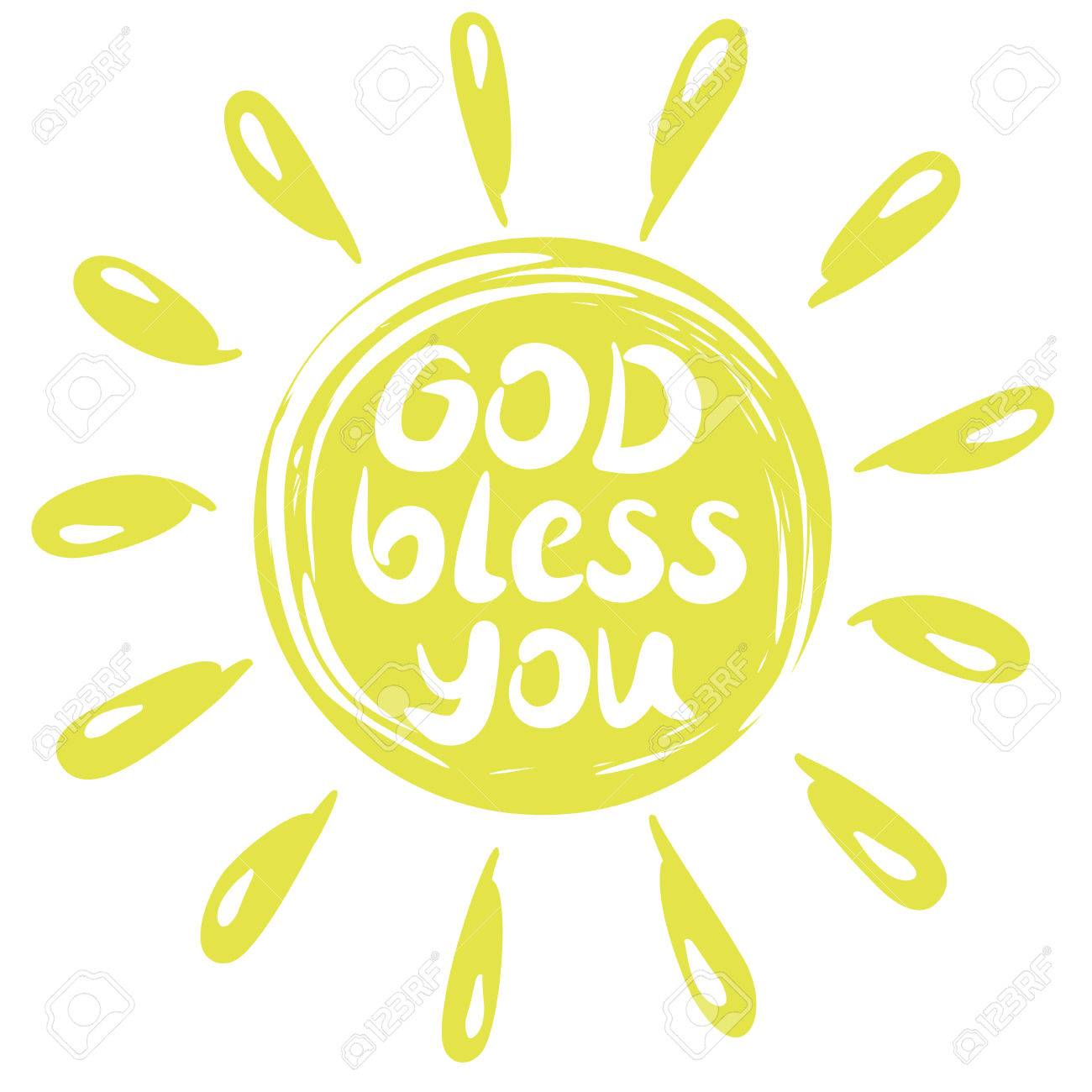 Hand lettering God Bless you with a yellow circle with rays.