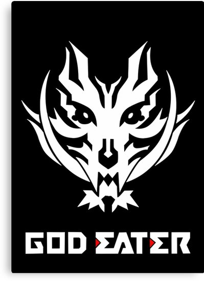 \'God Eater 2 Rage Burst Logo and Text (White Version)\' Canvas Print by  hollowfied.