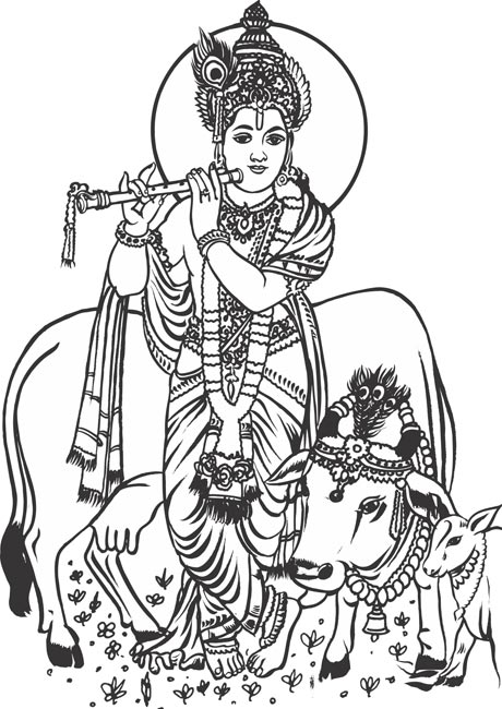 Lord Krishna With Cow Clipart.