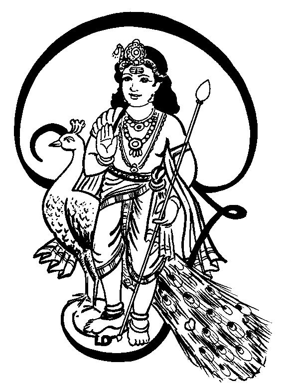 Tamil Cliparts: Lord Muruga Line art.
