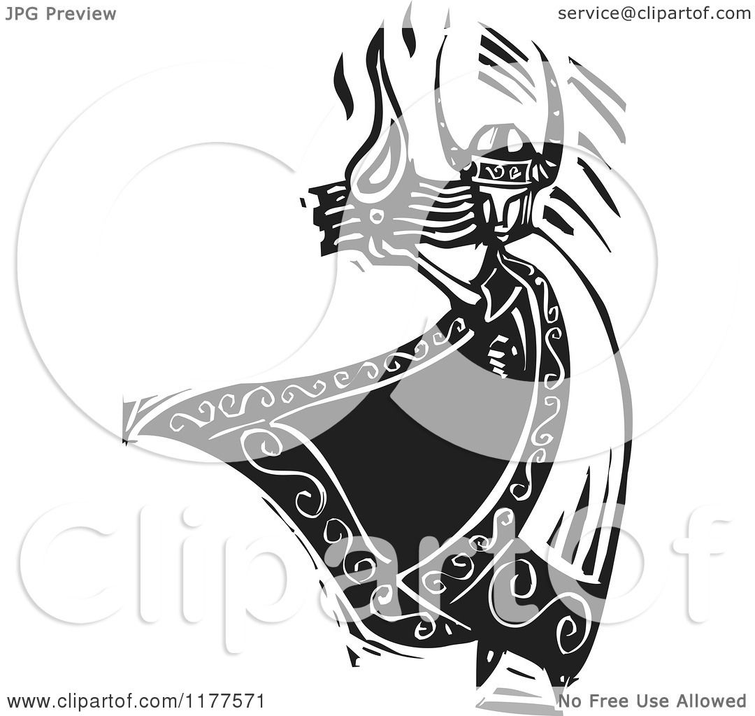 Clipart of the Norse God Loki with Fire Black and White Woodcut.