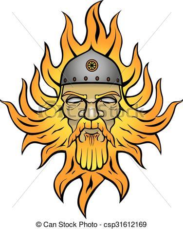 Clip Art Vector of Svaroži?: Pagan god of fire csp31612169.