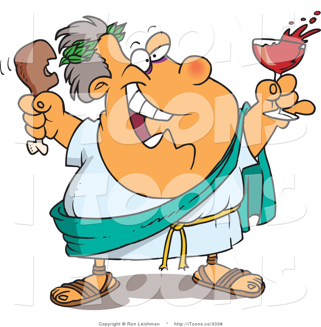 Vector Clip Art of an Overweight Greek God of Wine, Dionysus.