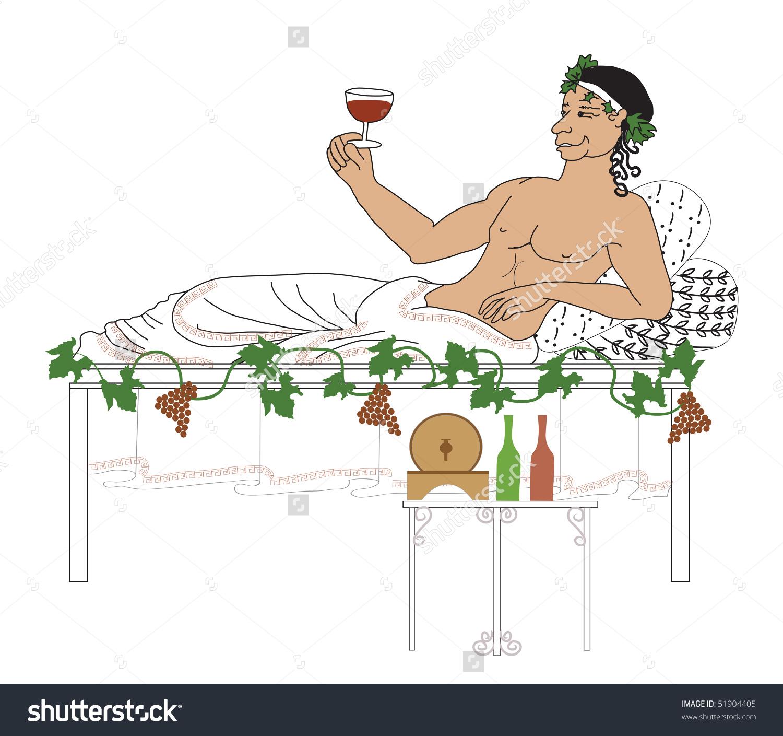 Bacchus God Wine Resting Drinking On Stock Illustration 51904405.