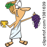 Greek God of Wine, Dionysus, Dionysos, Bacchus Clipart.