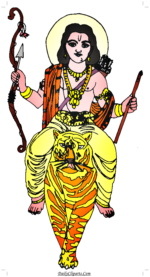 Shri Ram on Tiger Clipart Image.