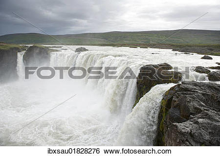 "Stock Images of ""Powerfull Gooafoss or Godafoss waterfall, waters."